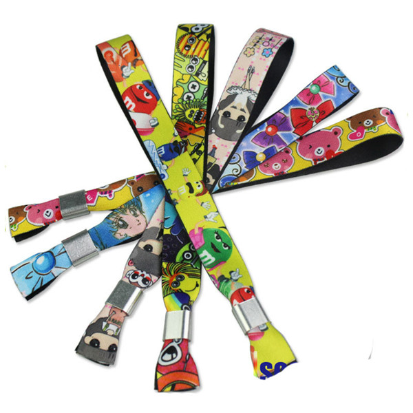 Fabric Wristbands Polyester Wristbands with Full Colors Logo