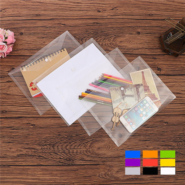 Clear File Folder Packet with Button Document Pouch