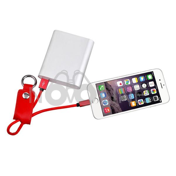 PU Leather Keychain Charging Cable