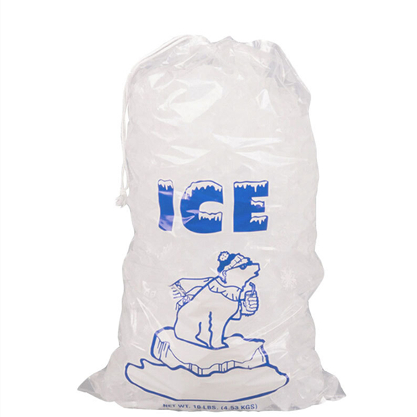 Clear Plastic Bags with Drawstring for Crystal Ice 10 LB