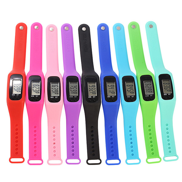 Digital Silicone Bracelet Pedometer with Plastic Box