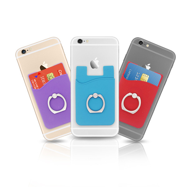 Silicone Cell Phone Wallet with Ring