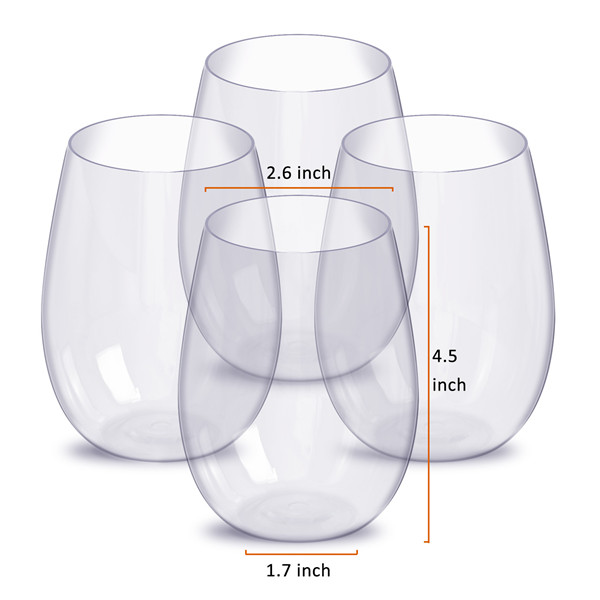 Stemless Tritan Wine Glass Single Wall Wine Tumbler