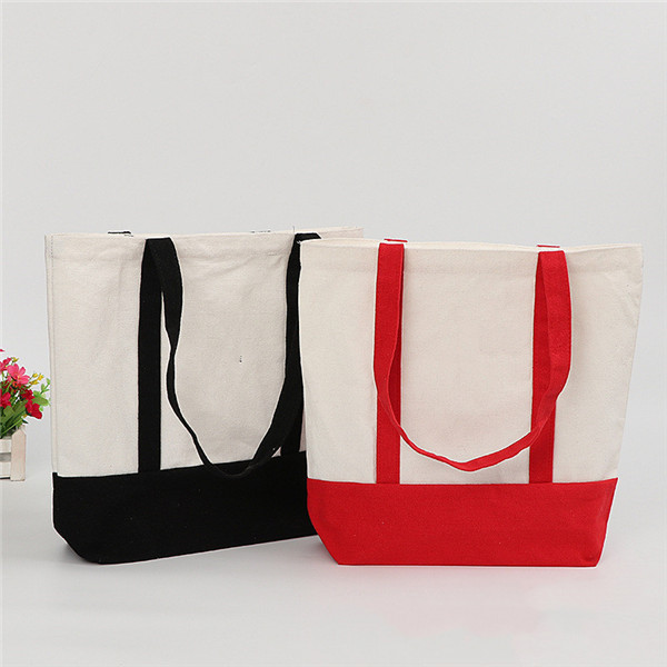 Heavy Cotton Canvas Two Tone Tote Bag