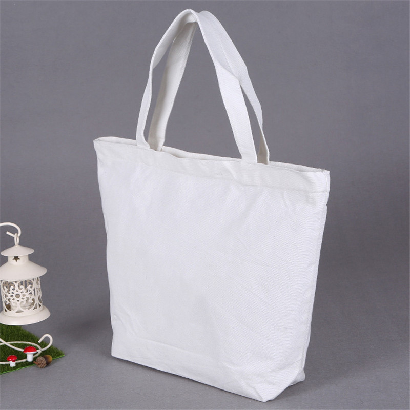 White Canvas Tote w/Gusset
