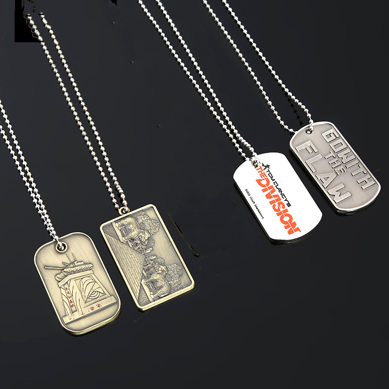 Zinc Alloy Metal Dog Tag with Chain & Key Hold
