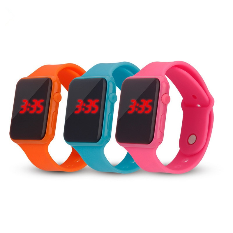 Square Silicone Electronic LED Watch