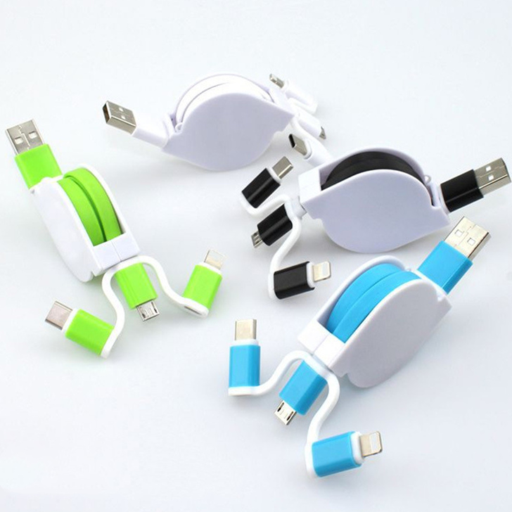 Mini Retractable 3-in-1 Multi-Function USB Charging Cable