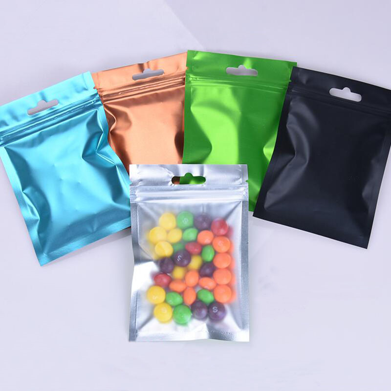 Matte Clear Colorful Aluminum Foil Zip Lock Packaging Bag with Hang Hole