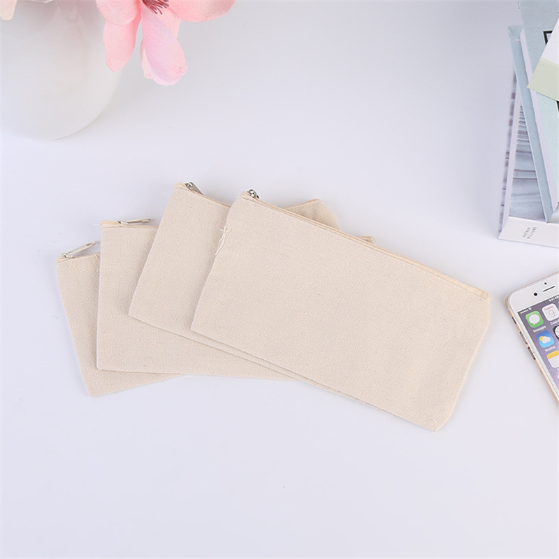 Natural Canvas Make-up Bags With Zipper